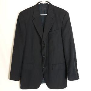 Nautica Mens Size 40L Navy Stripe Wool Suit Blazer